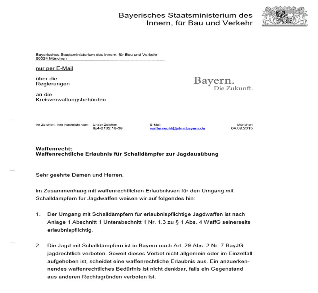 In Bayern mit Schalldämpfer zur Jagd