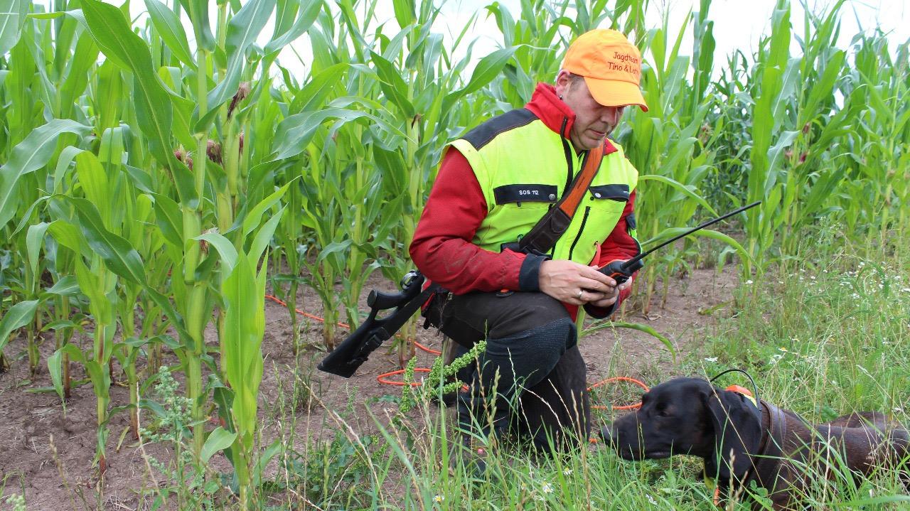 Hundefuehrer-Jagdhose-Kniend